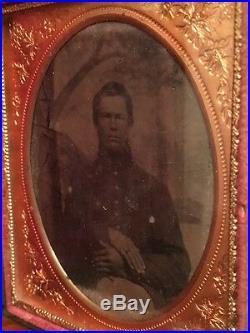 Civil War 1/6th plate Ambrotype Confederate Soldier, North Carolina Full Case