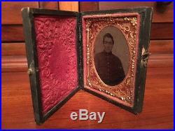 Civil War 1/9th plate Ambrotype Confederate Soldier, North Carolina Full Case