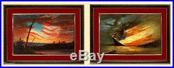 Civil War Art Confederate & Union Flag Paintings Framed Set