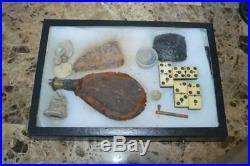 Civil War Artifacts Leather Powder Flask Minie Balls Dominos Burman Confederate