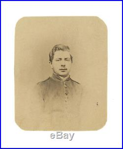 Civil War CDV of Confederate Cavalryman in 1/9 Plate Case Script C Buttons