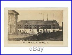 Civil War CDV of Richmond's Libby Prison Army Camp in Foreground Confederate