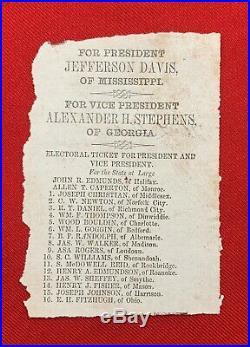 Civil War Confederate 1861 Virginia Jefferson Davis / Stephens Election Ballot
