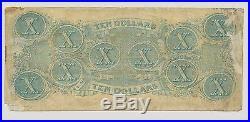 Civil War Confederate 1863 10 Dollar Bill Richmond Virginia Paper Money CSA VTG