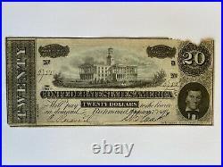 Civil War Confederate Currency $20 Note Twenty Dollar Bill CSA Money 1864 Paper