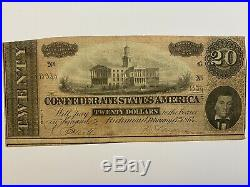 Civil War Confederate Currency $20 Note Twenty Dollar Bill CSA Money 1864 States