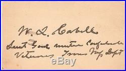 Civil War Confederate General William Lewis Cabell Card Signed
