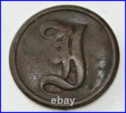 Civil War Confederate Infantry Script I button dug at Ft. Fisher, NC