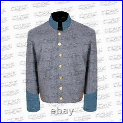 Civil War Confederate Infantry Shell Jacket, Grey jacket/ blue cuff All Sizes