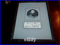 Civil War Confederate States General James Longstreet Framed Signature