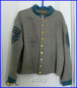 Civil War Confederate Wool Infantry Shell Jacket Sz 48 Sargent Major VA Buttons