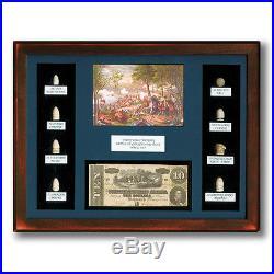 Civil War Framed 1864 Confederate $10 Artillery Note & Bullets