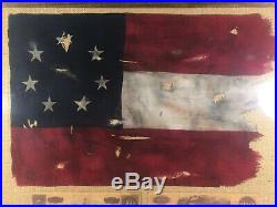 Civil War Framed Stars And Bars With Real Confederate Currency 24x20x2