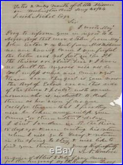 Civil War Letter about Slaves who were Stolen from a Confederate Officer