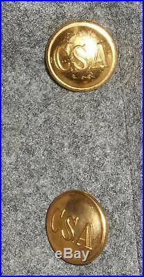 Civil War Reenactor Confederate Shell Jacket Infantry CSA Waterbury Buttons