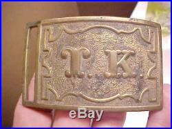 Civil War Union Confederate Sword BELT BUCKLE PLATE with T K on Front Rare