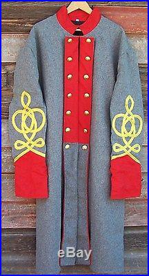 Civil war confederate artillery frock coat with 4 row braids 46