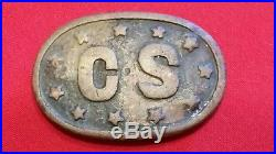 Civil war confederate belt buckle CS Stars Bell plate