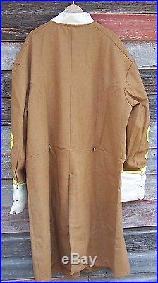 Civil war confederate butternut frock coat with 4 row braids 48