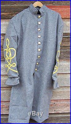 Civil war confederate frock coat with 3 row braids 48
