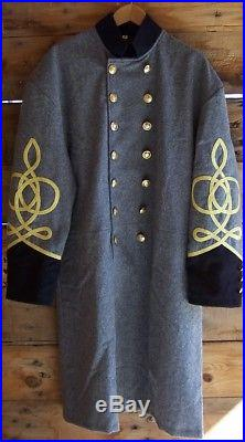 Civil war confederate frock coat with 3 row braids 50