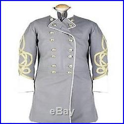Civil war confederate frock coat with 4 row braids in 100 % wool