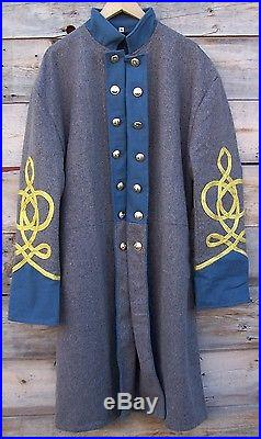 Civil war confederate infantry frock coat with 4 row braids 50