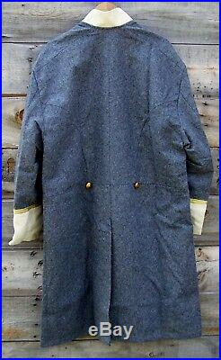 Civil war confederate officers double breasted wool frock coat 4 row braids 44