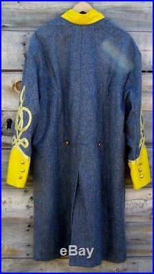 Civil war confederate officers double breasted wool frock coat 4 row braids 46