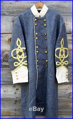 Civil war confederate officers double breasted wool frock coat 4 row braids 50