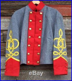Civil war confederate reenactor artillery shell jacket with 4 row braids 46