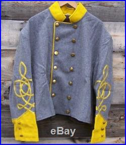 Civil war confederate reenactor cavalry shell jacket with 3 braids 50 01