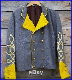 Civil war confederate reenactor cavalry shell jacket with 3 braids 50
