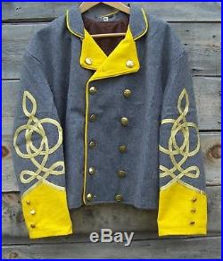 Civil war confederate reenactor cavalry shell jacket with 4 braids 48