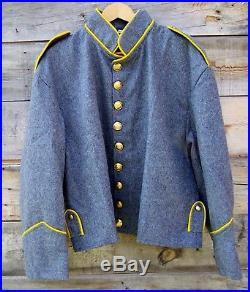Civil war confederate reenactor cavalry shell jacket with shoulder straps 46