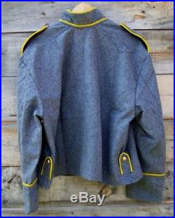 Civil war confederate reenactor cavalry shell jacket with shoulder straps 48