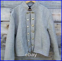 Civil war confederate reenactor jeans wool double breasted shell jacket 52