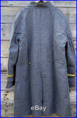 Civil war confederate reenactor officers double breasted frock coat 4 braids 42
