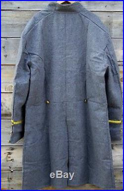Civil war confederate reenactor officers double breasted frock coat 4 braids 44