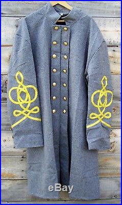 Civil war confederate reenactor officers double breasted frock coat 4 braids 48