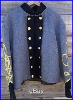 Civil war confederate reenactor shell jacket with 3 row braids 44