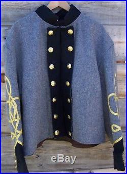 Civil war confederate reenactor shell jacket with 3 row braids 44