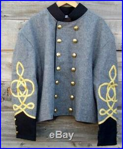 Civil war confederate reenactor shell jacket with 3 row braids 46