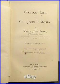 Confederate CIVIL War Partisan Life Col John Mosby 1867 1st Ed Fauquier Virginia