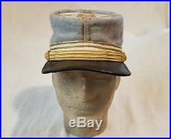 Confederate Captain Civil War Wool Kepi, Custom Tailored Sz. 57-57 1/2cm