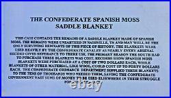 Confederate Civil War Spanish Moss Saddle Blanket Dug Nashville, TN RARE! WithCase