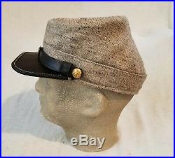 Confederate Civil War Wool Kepi, Custom Tailored Sz. 58cm