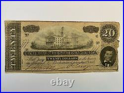 Confederate Currency $20 Note Twenty Dollar Bill CSA Money 1864 States Civil War