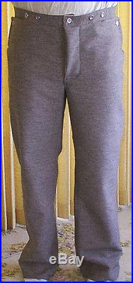 Confederate Jean Wool Pants, Gray with Brown, Civil War