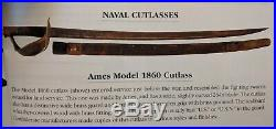 Confederate State Navy Cutlass Ames Model 1860 Unmarked Civil War Naval Officer